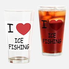 I heart ice fishing Drinking Glass