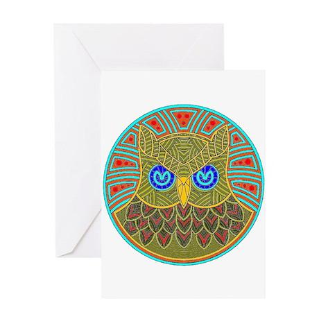 Vintage Owl Mandala Greeting Card