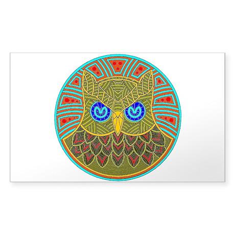 Vintage Owl Mandala Sticker (Rectangle)