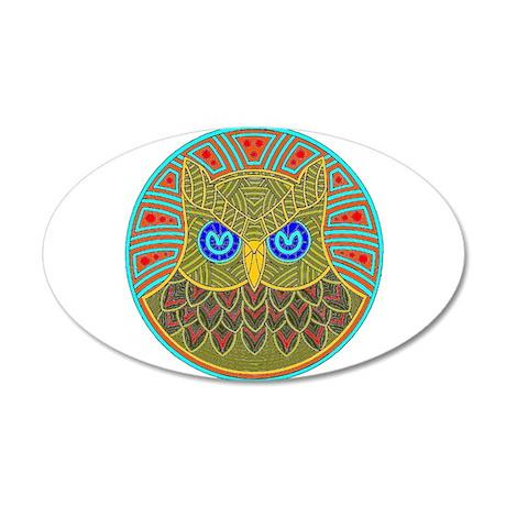 Vintage Owl Mandala 38.5 x 24.5 Oval Wall Peel