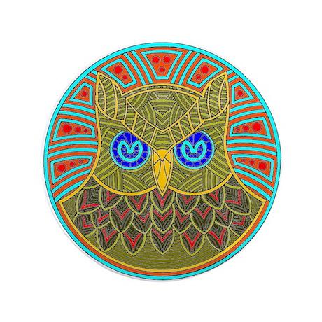 "Vintage Owl Mandala 3.5"" Button"