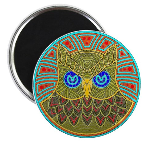Vintage Owl Mandala Magnet