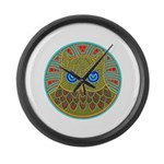 Vintage Owl Mandala Large Wall Clock