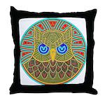 Vintage Owl Mandala Throw Pillow