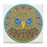 Vintage Owl Mandala Tile Coaster