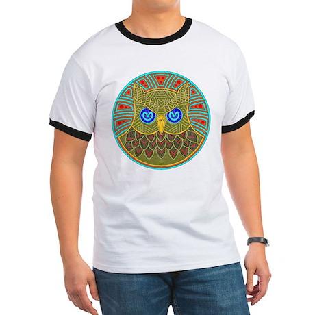 Vintage Owl Mandala Ringer T