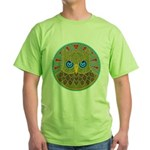 Vintage Owl Mandala Green T-Shirt