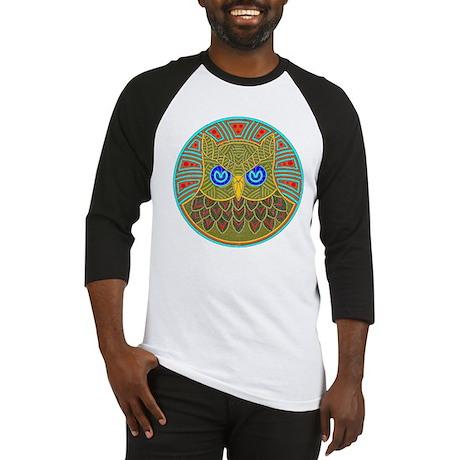 Vintage Owl Mandala Baseball Jersey