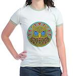 Vintage Owl Mandala Jr. Ringer T-Shirt