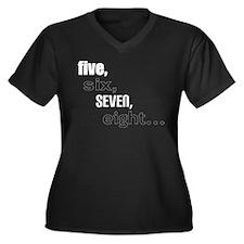 5,6,7,8... Women's Plus Size V-Neck Dark T-Shirt