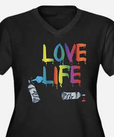Love Life Women's Plus Size V-Neck Dark T-Shirt