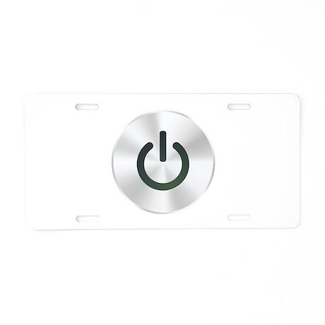 Power Button Aluminum License Plate