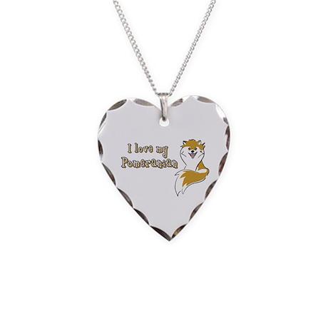 Pomeranian Necklace Heart Charm
