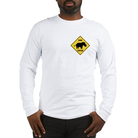 Rhino Crossing Sign Long Sleeve T-Shirt