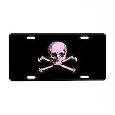 Pink Skull and Crossbones Aluminum License Plate
