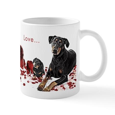 """Dachshund & Doberman """"Best Friends"""" Coffee Mug"""
