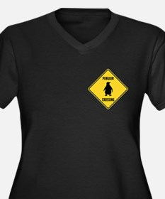 Penguin Crossing Sign Women's Plus Size V-Neck Dar