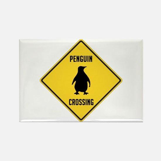 Penguin Crossing Sign Rectangle Magnet
