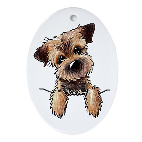 Pocket Border Terrier Ornament (Oval)
