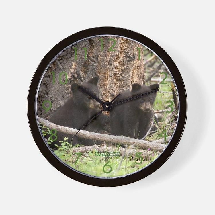 """""""Bear Cub Twins"""" Wall Clock"""