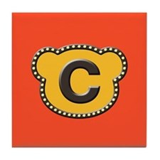 Bear Head Initial C Tile Coaster