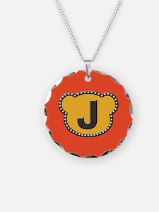 Bear Head Initial J Necklace