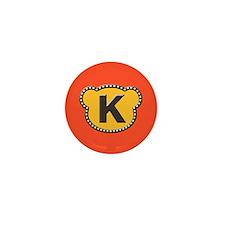 Bear Head Initial K Mini Button