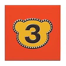Bear Head Number 3 three Tile Coaster