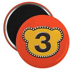 "Bear Head Number 3 three 2.25"" Magnet (10 pack)"