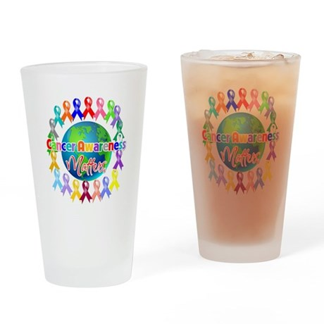 Cancer Awareness World Drinking Glass