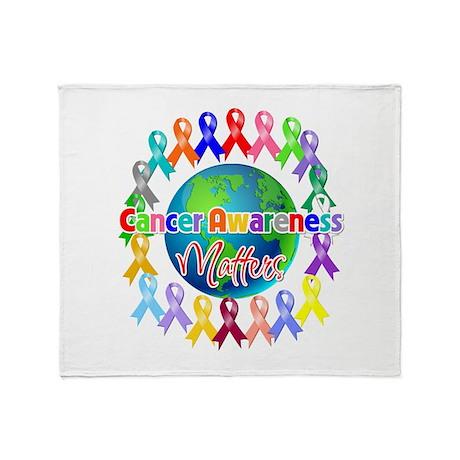 Cancer Awareness World Throw Blanket