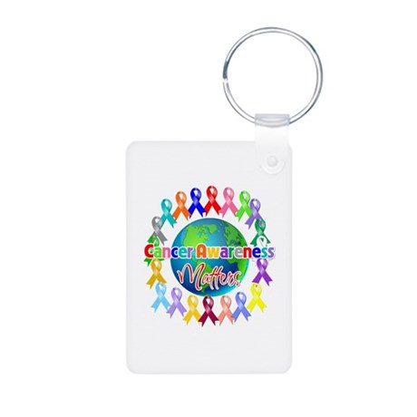 Cancer Awareness World Aluminum Photo Keychain
