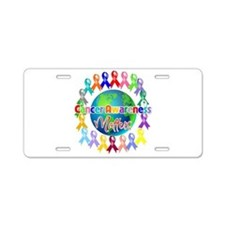 Cancer Awareness World Aluminum License Plate