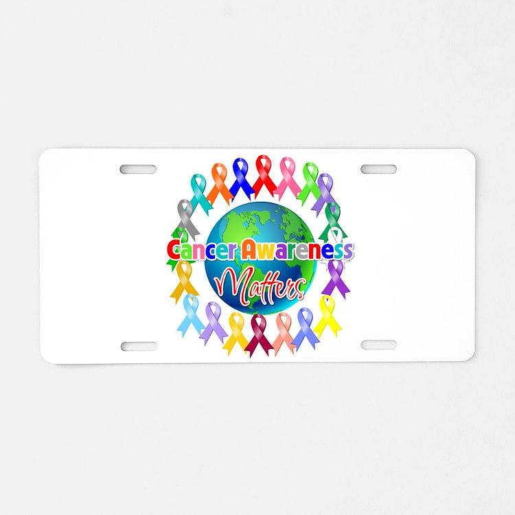 Cancer Awareness World Aluminum License Plate