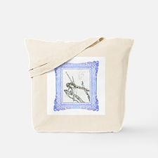 Blue Framed Dragonfly Tote Bag