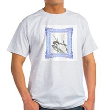 Blue Framed Dragonfly Ash Grey T-Shirt