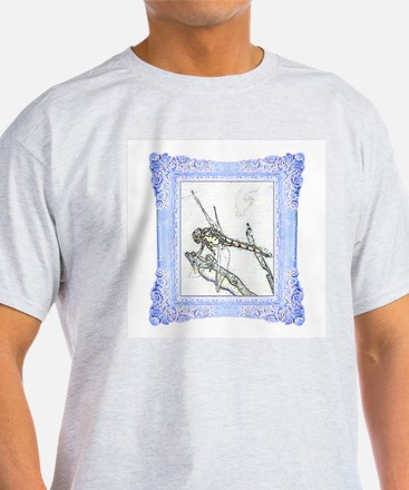 Blue Framed Dragonfly Ash Grey T-Shirt