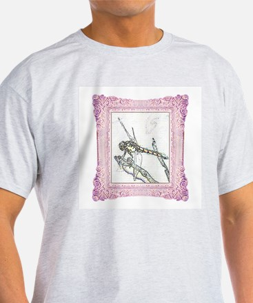 Pink Framed Dragonfly Ash Grey T-Shirt