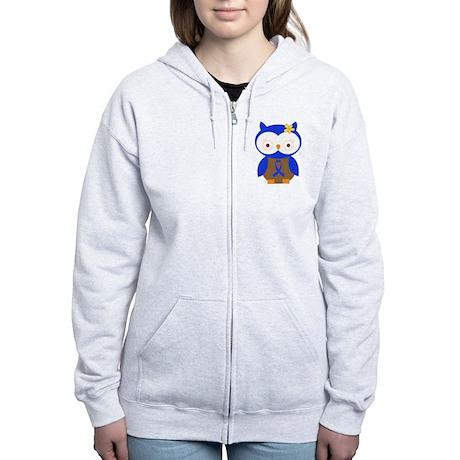 Blue Ribbon Owl Awareness Women's Zip Hoodie