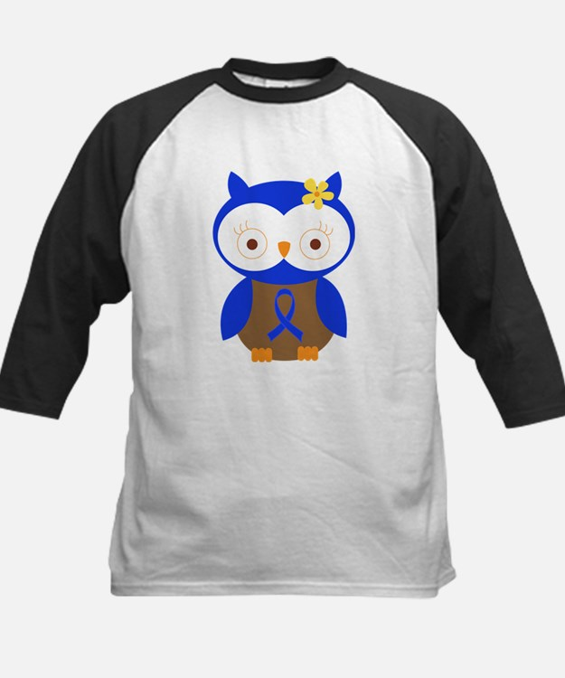 Blue Ribbon Owl Awareness Kids Baseball Jersey