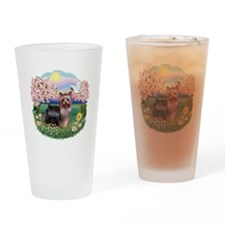 Blossoms/Yorkie #20 Drinking Glass