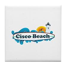"""Cisco Beach """"Surf"""" Design. Tile Coaster"""
