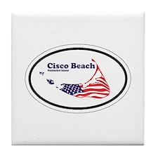 Cisco Beach Oval Design. Tile Coaster