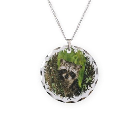 Baby Raccoon Necklace Circle Charm