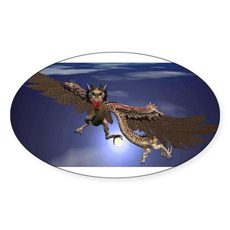 Dragon Flying At Night Sticker (Oval)