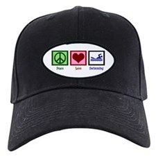 Peace Love Swimming Baseball Hat