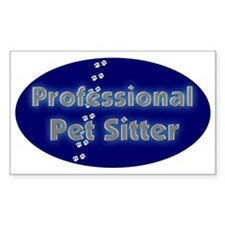 Professional Pet Sitter Oval Rectangle Decal