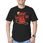 Amber Lassoed My Heart Men's Fitted T-Shirt (dark)