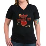 Amber Lassoed My Heart Women's V-Neck Dark T-Shirt