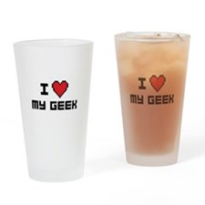 I Love My Geek Drinking Glass